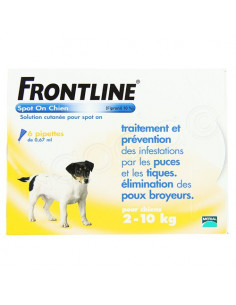 Frontline Antiparasitaire Spot on Chiens et Chats. Pipettes Chiens 2-10kg