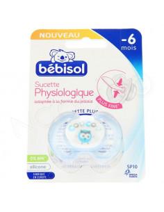 Bébisol Sucette Physiologique silicone -6 mois x1 bleu