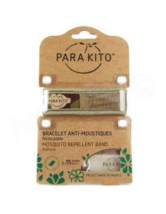 Para'Kito Bracelet Anti-moustiques rechargeable Nouvelle Formule + 2 plaquettes Jungle militaire