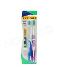 Gum Activital Duo Pack Sunstar medium brosse à dents x2 + 1 protection Bleu et Violet