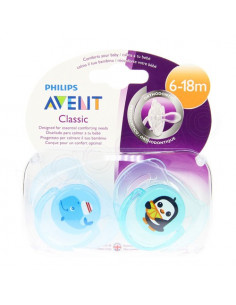Avent Classic Sucette Animaux Silicone Orthodontique Classic 6-18 mois x2 Baleine / Pinguoin