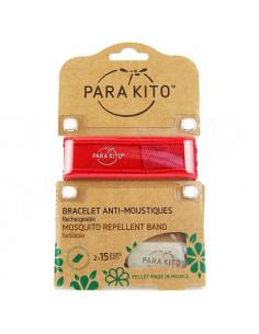 Para'Kito Bracelet Anti-moustiques rechargeable Nouvelle Formule + 2 plaquettes rouge