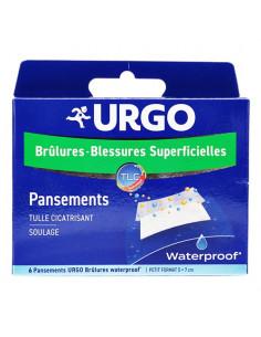 Urgo Pansements Brûlures - Blessures Superficielles Stériles Waterproof Boite 6 pansements petit format
