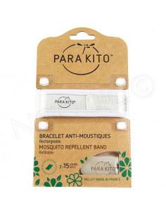 Para'Kito Bracelet Anti-moustiques rechargeable Nouvelle Formule + 2 plaquettes Blanc
