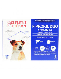 Clément Thékan Fiprokil Duo Spot on Antiparasitaires Chat et chien. Pipettes Chien 2-10kg 4 pipettes 0.67ml