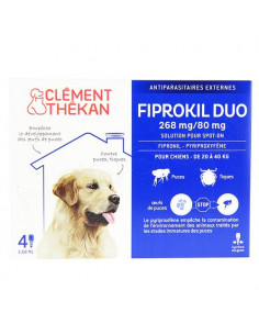 Clément Thékan Fiprokil Duo Spot on Antiparasitaires Chat et chien. Pipettes Chien 20-40kg 4 pipettes 2.68ml