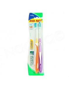 Gum Activital Duo Pack Sunstar medium brosse à dents x2 + 1 protection Orange et Violet