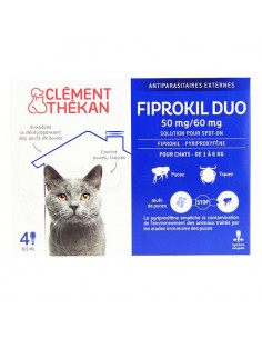 Clément Thékan Fiprokil Duo Spot on Antiparasitaires Chat et chien. Pipettes Chat 1-6kg 4 pipettes 0.5ml