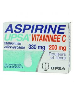 Aspirine Upsa Vitamine C 200mg. Tamponnée 330mg 20 comprimés effertvescents