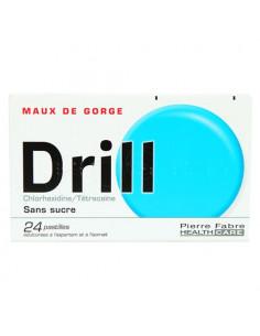 Drill Pastilles Maux de Gorge Chlorhexidine/Tétracaïne Sans Sucre. 24 pastilles