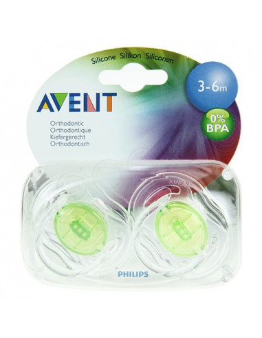 AVENT Sucette sans BPA silicone 3-6mois. Boîte de 2 - ACL 9631848