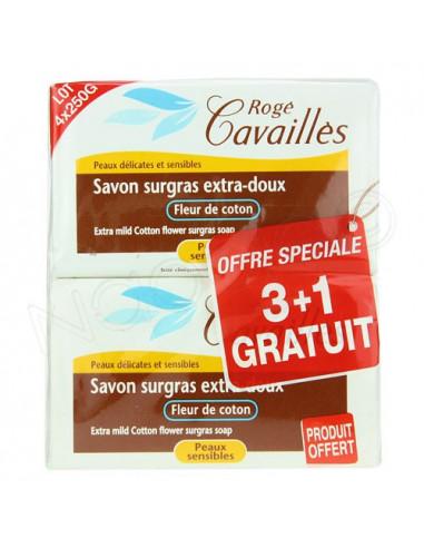 Rogé Cavailles Savon surgras extra-doux Fleur de coton.Lot 4 x 250g