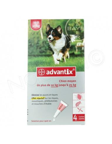 Advantix Solution pour spot-on Chien moyen 10 à 25 kg. Boite 4 pipettes de 2.5ml