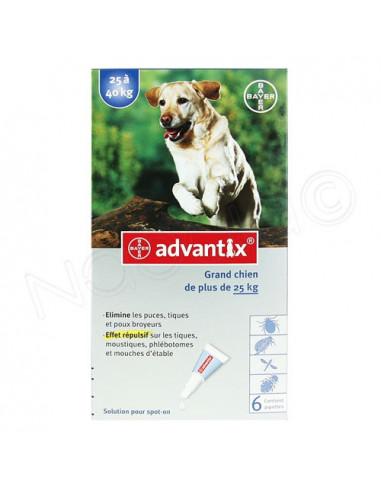 Advantix Solution pour spot-on Grand Chien plus de 25kg. Boite 6 pipettes de 4ml
