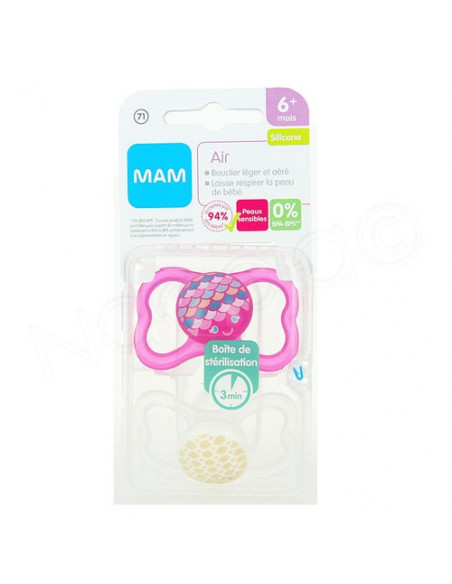 MAM Air Sucette Silicone 6mPlus. x2