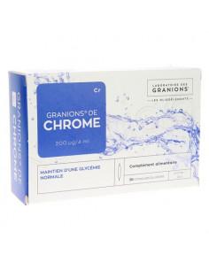 Granions de Chrome Cr Oligo-élément 200µg/j . Boite 30 ampoules buvables