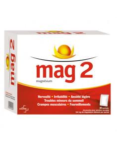 Mag 2 Magnésium - Nervosité, irritabilité, Troubles mineurs du sommeil 30 sachets Cooper - 1