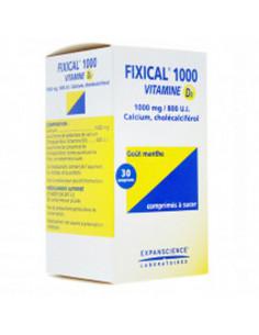 Fixical 1000 Vitamine D3 1000mg/800 UI Goût Menthe 30 comprimés à sucer Expanscience - 1