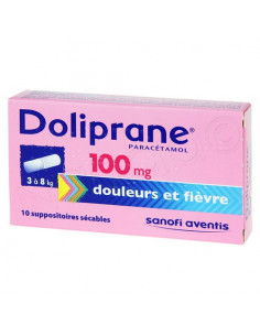 Boite Rose Doliprane Paracétamol 100 mg de 10 suppositoires sécables