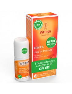 Weleda Arnica Huile de Massage 200ml +  Déodorant Roll-on Argousier 50ml offert Weleda - 1