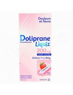 Doliprane Liquiz 200mg sans sucre 12 sachets de 8.3ml fraise
