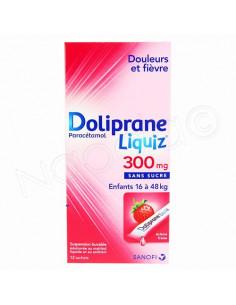 Doliprane liquiz 300 mg sans sucre 12 sachets de 8.3ml fraise