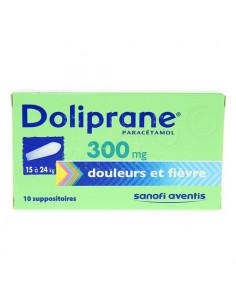 Boite verte de Doliprane paracétamol 300 mg 10 suppositoires