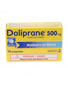 Boîte de Doliprane Paracétamol 500mg Jaune et bleu