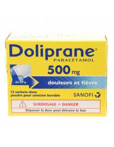 Doliprane paracétamol 500 mg 12 sachets - dose poudre solution buvable Doliprane - 1