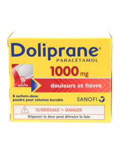 Doliprane Paracétamol 1000 mg Douleurs & Fièvre 8 sachets-dose poudre Doliprane - 1