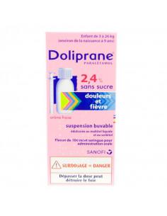 La boite de Doliprane 2,4% Fraise 100ml Rose et bleu