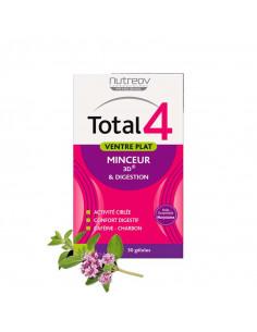 Total 4 Ventre Plat Minceur 3D et Digestion 30 gélules Nutreov - 1