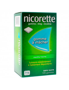 Nicorette 2mg, Menthe Fraîche Sans Sucre, 105 gommes