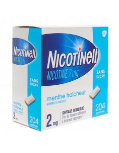 Nicotinell 2mg, Menthe Fraîcheur Sans Sucre, 204 gommes à mâcher
