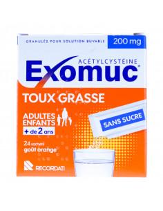 Exomuc 200mg, Acétylcystéine, Toux grasse, 24 sachets