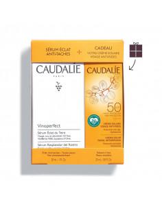 Caudalie coffret vinoperfect sérum 2021 blanc et orange avec crème solaire visage en cadeau