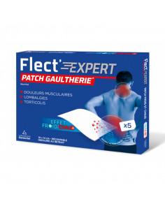 Flect Expert patch chaud froid gaulthérie menthol boite bleue et rouge, 5 patchs