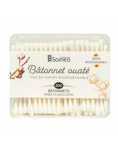 Soineo Bâtonnets Ouatés 100% coton 200 bâtonnets