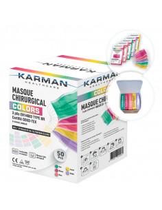 Masques Chirurgicaux Colors Karman Healthcare Type IIR Boîte de 50