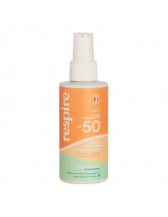 Respire SPF50 Spray Solaire Minéral visage corps flacon orange vert