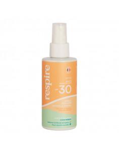 Respire spf30 spray solaire bio crème visage et corps flacon orange vert