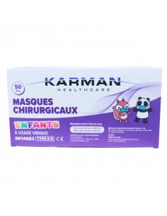 Masques Chirurgicaux Enfants Type IIR Karman Healthcare Boîte de 50