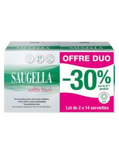 Saugella Cotton Touch jour offre duo lot de 2 boites de 14 serviettes