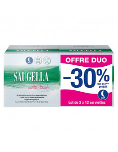 Saugella Cotton Touch nuit offre duo lot de 2 boites de 12 serviettes