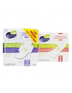 Unyque Bio Lot Promo Serviettes Super x10 + Protège-Slip Pocket x24