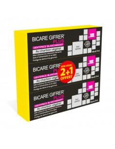 Bicare Gifrer Plus Dentifrice Blanchissant au Charbon Végétal 3x75ml lot offre 2+1 offert