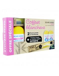Bicare Gifrer Plus coffret blancheur 2 flacons poudre bicarbonate + 1 brosse à dents charbon cadeau