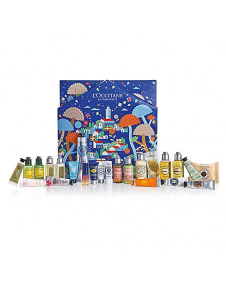 L'Occitane Calendrier de Noël 2021 bleu avec village provençal décor