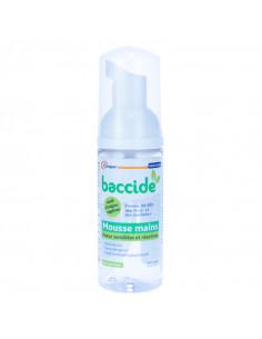 Baccide Mousse Mains sans rinçage  Peaux sensibles et réactives. 50ml flacon pompe blanc vert