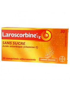 Laroscorbine 1g Sans Sucre 30 comprimés effervescents Arôme Orange